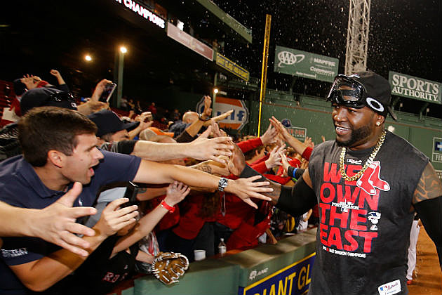 Boston Red Sox DH David Ortiz celebrates AL East title with fans