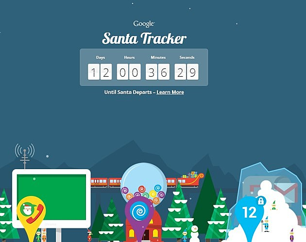 Santa fun from Google (screen grab)