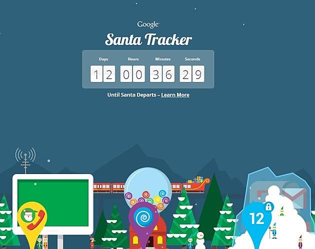 Santa fun from Google (screen grab)